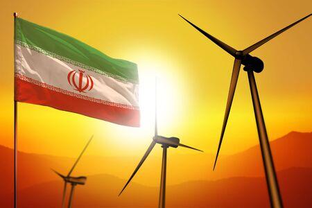 Iran wind energy, alternative energy environment concept with turbines and flag on sunset - alternative renewable energy - industrial illustration, 3D illustration Reklamní fotografie