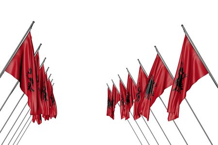 beautiful many Albania flags hanging on diagonal poles from left and right sides isolated on white - any celebration flag 3d illustration Stock fotó