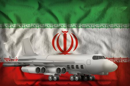 bomber on the Iran flag background. 3d Illustration