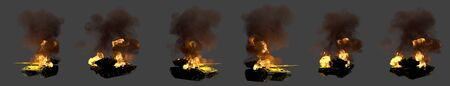 Military 3D Illustration for tank fight concept - isolated green army tank with fictional design on fire destroyed on dark grey background