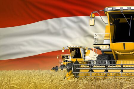 industrial 3D illustration of three yellow modern combine harvesters with Austria flag on farm field - close view, farming concept