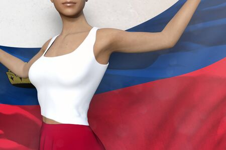 cute girl in bright skirt is holding Liechtenstein flag in her hands behind her on the white background - flag concept 3d illustration Stock fotó