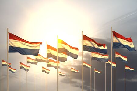 wonderful any feast flag 3d illustration  - many Netherlands flags in a row on sunset with empty place for content