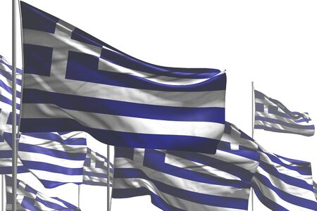beautiful independence day flag 3d illustration  - many Greece flags are waving isolated on white