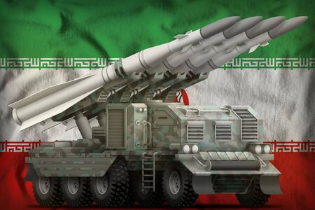 tactical short range ballistic missile with arctic camouflage on the Iran flag background. 3d Illustration Stockfoto