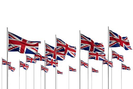 beautiful many United Kingdom (UK) flags in a row isolated on white with free space for text - any celebration flag 3d illustration