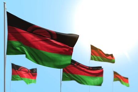 pretty celebration flag 3d illustration  - 5 flags of Malawi are waving against blue sky image with soft focus Stock fotó