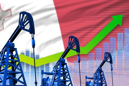 Malta oil industry concept, industrial illustration - growing graph on Malta flag background. 3D Illustration