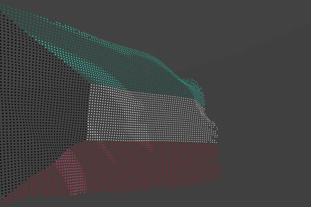 beautiful independence day flag 3d illustration  - digital photo of Kuwait isolated flag made of glowing dots wave on grey background