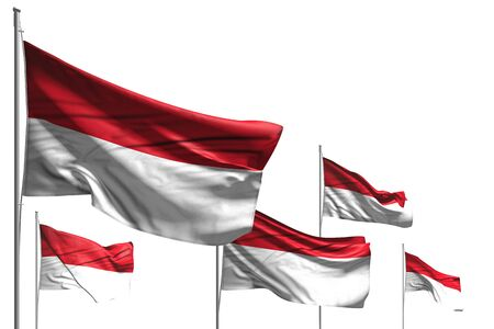 nice holiday flag 3d illustration  - five flags of Indonesia are waving isolated on white