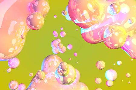 bright shiny and glossy soap like gradient fluid abstract background or texture 3D illustration - background design template