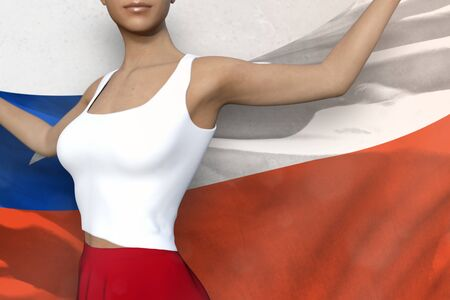 pretty woman in bright skirt is holding Chile flag in her hands behind her on the white background - flag concept 3d illustration