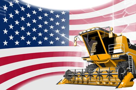 Digital industrial 3D illustration of yellow advanced rural combine harvester on USA flag - agriculture equipment innovation concept