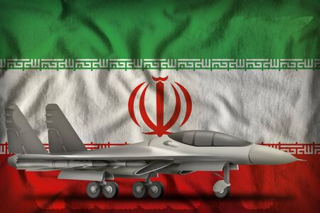 fighter, interceptor on the Iran flag background. 3d Illustration