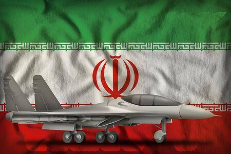 fighter, interceptor on the Iran flag background. 3d Illustration