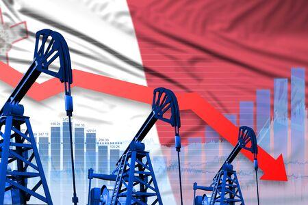 Malta oil industry concept, industrial illustration - lowering, falling graph on Malta flag background. 3D Illustration