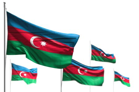 beautiful five flags of Azerbaijan are wave isolated on white - illustration with selective focus - any occasion flag 3d illustration