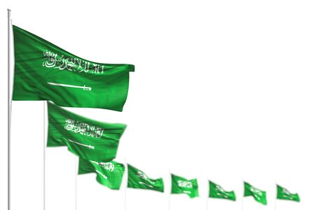 pretty day of flag 3d illustration  - Saudi Arabia isolated flags placed diagonal, illustration with soft focus and place for your text