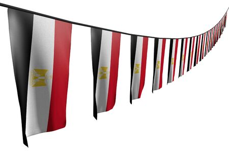 wonderful many Egypt flags or banners hanging diagonal with perspective view on rope isolated on white - any feast flag 3d illustration  Stok Fotoğraf