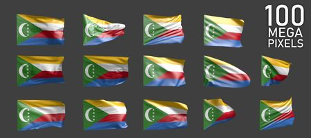 Comoros flag isolated - different images of the waving flag on grey background - object 3D illustration Stock fotó