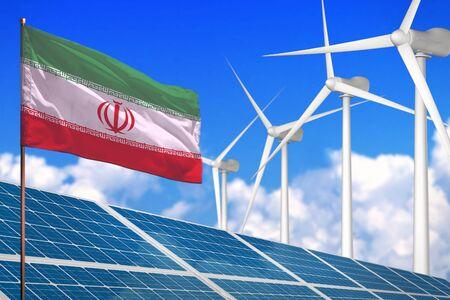 Iran solar and wind energy, renewable energy concept with windmills - renewable energy against global warming - industrial illustration, 3D illustration Reklamní fotografie