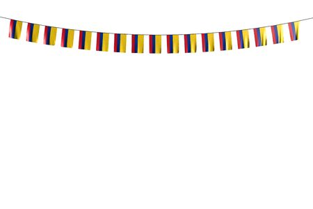 beautiful national holiday flag 3d illustration  - many Colombia flags or banners hangs on string isolated on white