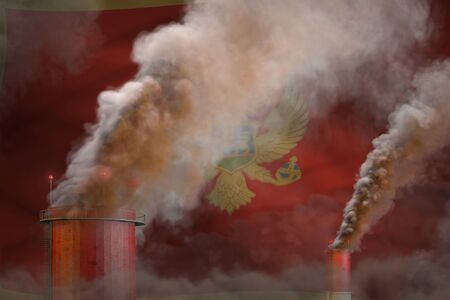 Global warming concept - heavy smoke from industry chimneys on Montenegro flag background   - industrial 3D illustration