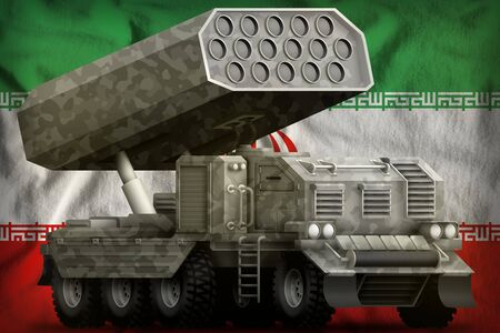 rocket artillery, missile launcher with grey camouflage on the Iran flag background. 3d Illustration