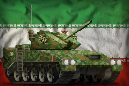 light tank apc with summer camouflage on the Iran flag background. 3d Illustration