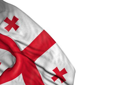 beautiful day of flag 3d illustration  - Georgia flag with big folds lying in bottom left corner isolated on white