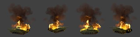 miltary tank with design that not exists in flames knocked down in combat isolated on dark grey background, military 3D Illustration for victory day concept