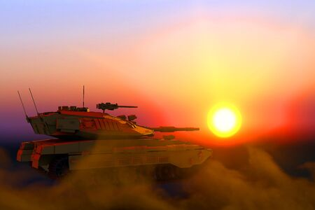 sand camo army tank with not existing design on sunset, high resolution honour concept - military 3D Illustration 版權商用圖片