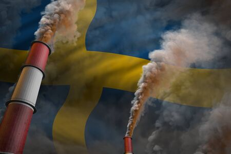 Sweden pollution fight concept - two big factory pipes with dense smoke on flag background, industrial 3D illustration