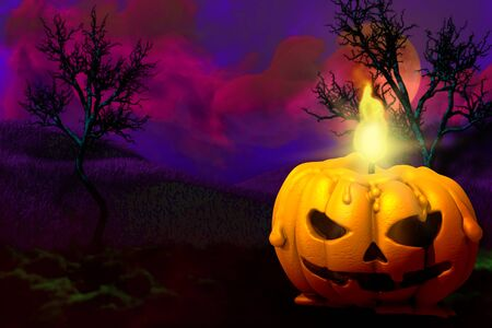 Halloween colorful haunting dark night texture - background design template 3D illustration with free space on left side and candle in pumpkin style on the right, trick or treat concept