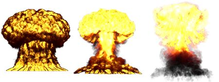 3 large very high detailed different phases mushroom cloud explosion of nuclear bomb with smoke and fire isolated on white - 3D illustration of explosion Stock Photo