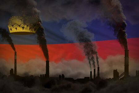 Dark pollution, fight against climate change concept - industrial 3D illustration of industry pipes dense smoke on Liechtenstein flag background