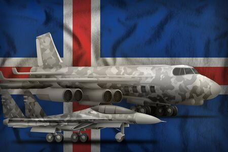 air forces with grey camouflage on the Iceland flag background. Iceland air forces concept. 3d Illustration