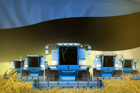 many blue farming combine harvesters on rural field with Estonia flag background - front view, stop starving concept - industrial 3D illustration 写真素材