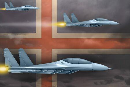 Iceland air strike concept. Modern war airplanes attack on Iceland flag background. 3d Illustration