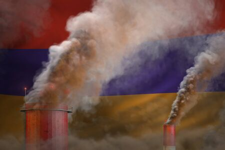 dense smoke of industry chimneys on Armenia flag - global warming concept, background with place for your text - industrial 3D illustration