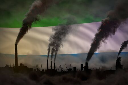 Global warming concept - heavy smoke from industry pipes on Sierra Leone flag background with space - industrial 3D illustration
