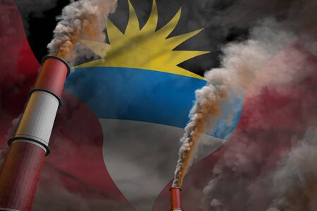 Antigua and Barbuda pollution fight concept - two huge factory chimneys with dense smoke on flag background, industrial 3D illustration