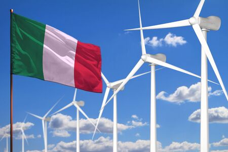 Italy alternative energy, wind energy industrial concept with windmills and flag - alternative renewable energy industrial illustration, 3D illustration