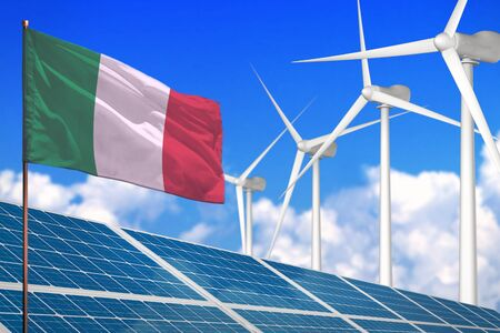 Italy solar and wind energy, renewable energy concept with windmills - renewable energy against global warming - industrial illustration, 3D illustration Banco de Imagens