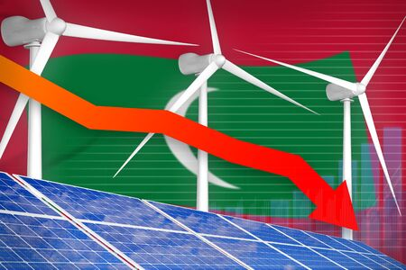 Maldives solar and wind energy lowering chart, arrow down  - environmental energy industrial illustration. 3D Illustration