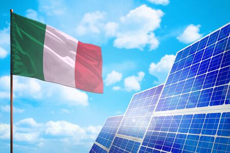 Italy alternative energy, solar energy concept with flag - symbol of fight with global warming - industrial illustration, 3D illustration