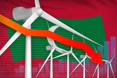 Maldives wind energy power lowering chart, arrow down  - alternative energy industrial illustration. 3D Illustration