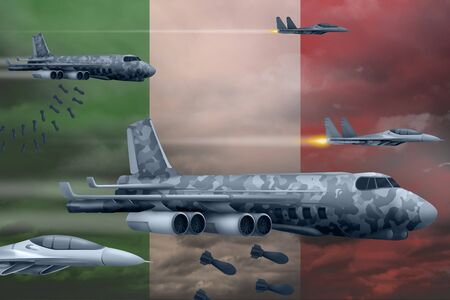 Italy bomb air strike concept. Modern Italy war airplanes bombing on flag background. 3d Illustration