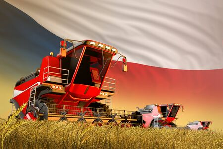 agricultural combine harvester working on rural field with Czechia flag background, food production concept - industrial 3D illustration Stockfoto
