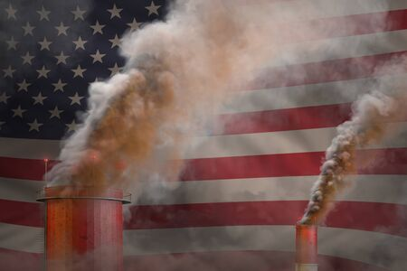 Global warming concept - dense smoke from factory pipes on USA flag background with place for your logo - industrial 3D illustration Banco de Imagens